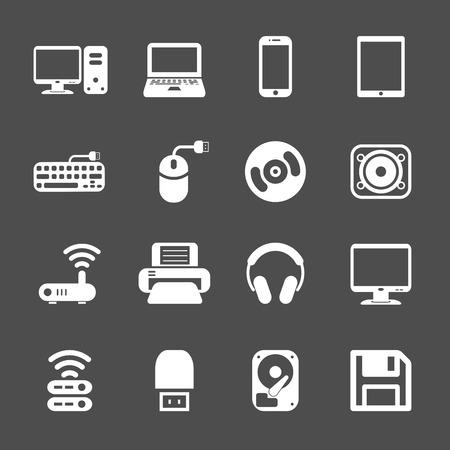 lcd monitor printer: computer hardware icon set, vector eps10. Illustration