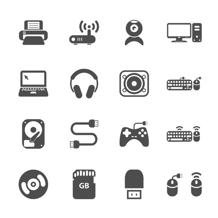lcd monitor printer: computer hardware and accessories icon set, vector eps10.