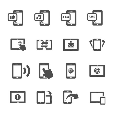 communication of smart phone and tablet device icon set, vector eps10. Vector