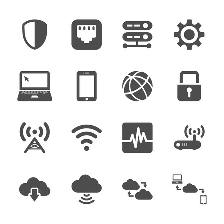 cell tower: computer network and cloud computing icon set, vector eps10.