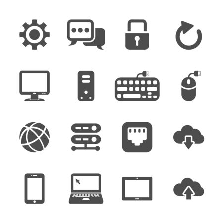 network and computer icon set, vector eps10. Vector