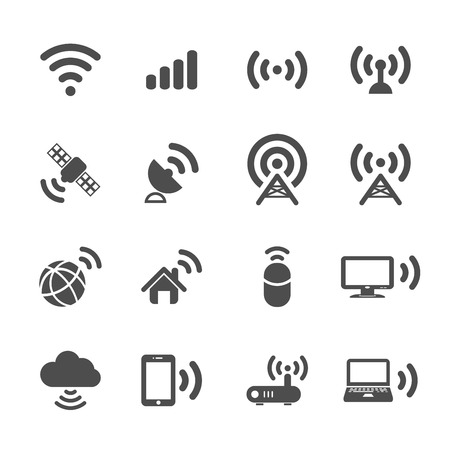 wireless lan: wireless technology icon set, vector eps10.