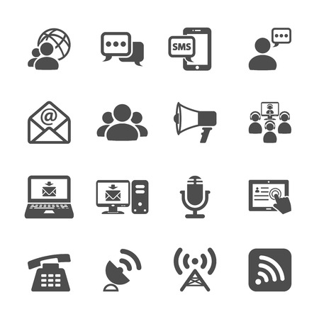 communication icon set, vector eps10. Ilustrace