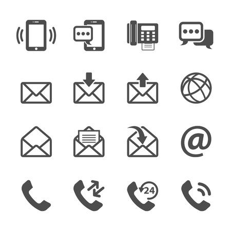 correo electronico: Comunicaci�n de tel�fono y correo electr�nico icono set, vector eps10.