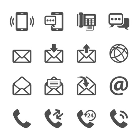 Kommunikation von Telefon und E-Mail-Icon-Set, Vektor eps10. Illustration