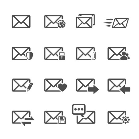 messege: email communication icon set, vector eps10.