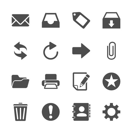 sync: email icon set, vector eps10.