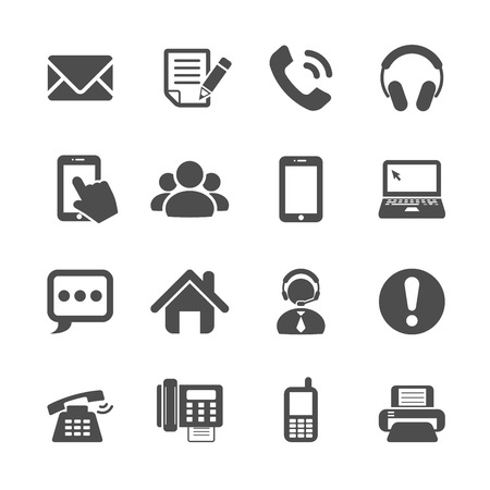 contact person: communication icon set, vector eps10. Illustration
