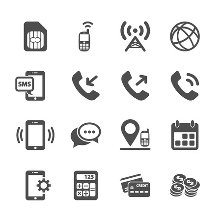 telecommunication account managment icon set, vector eps10.