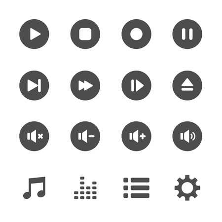 eject: multimedia player icon set, vector eps10. Illustration
