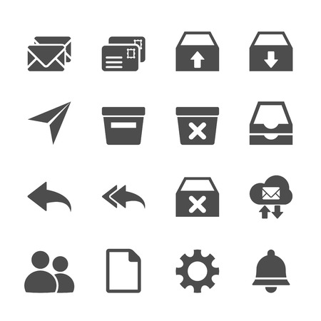 reply all: email icon set, vector eps10.