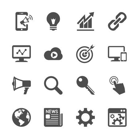 pr: seo and internet marketing icon set, vector eps10.