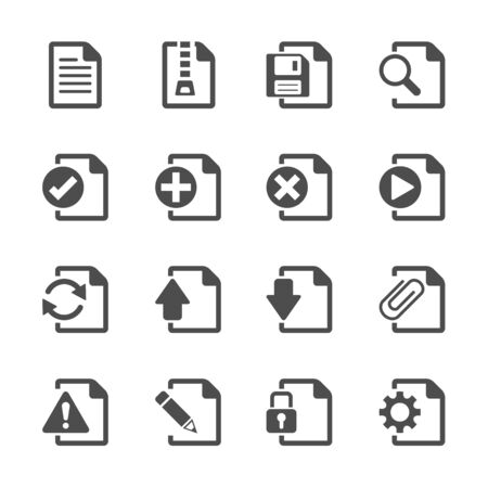 delete: file document icon set, vector eps10.
