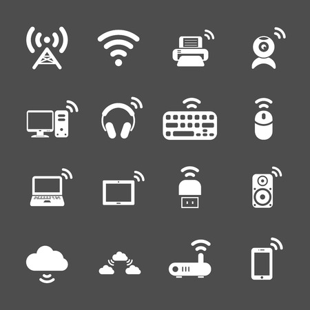 wireless technology computer icon set, each icon is a single object (compound path), vector eps10 Vector