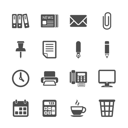 office work icon set, vector eps10. Vector