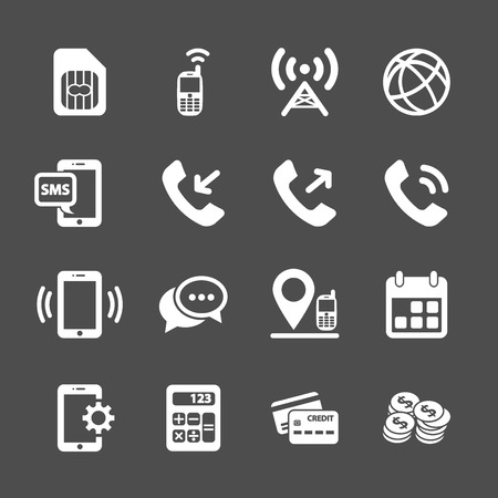 cell phone transmitter tower: telecommunication account managment icon set, vector eps10.