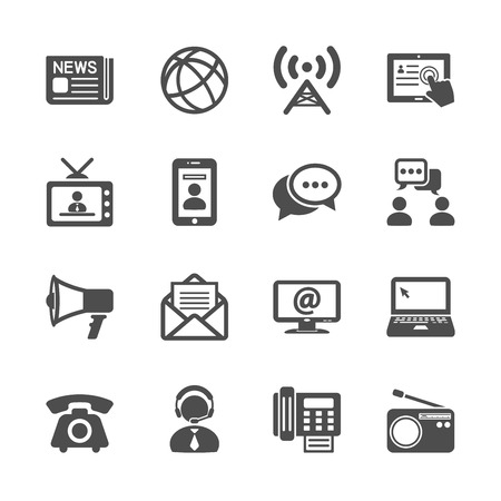 contact centre: communication icon set, vector eps10. Illustration