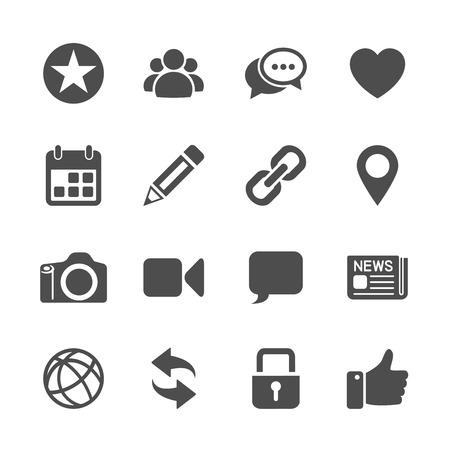 thumb keys: social network communication icon set, vector eps10. Illustration
