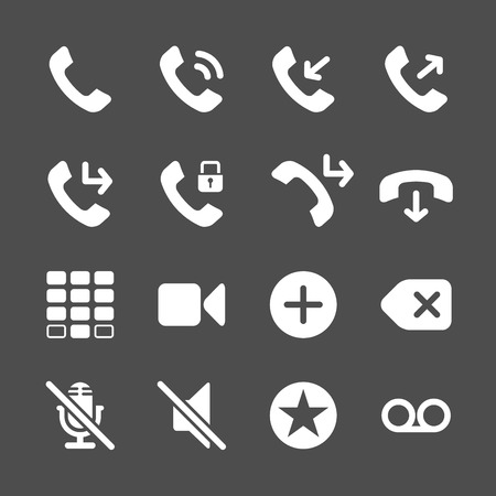 miss: telephone application icon set, vector eps10.