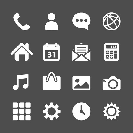 telephone application icon set, vector eps10.