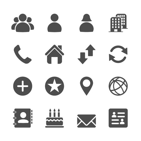 contact person: website contact icon set, vector eps10. Illustration