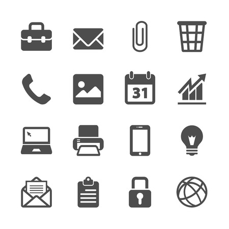 email icons: office work icon set, vector eps10. Illustration