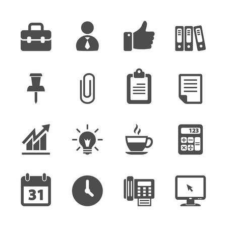 business and office work icon set, vector eps10. Vector