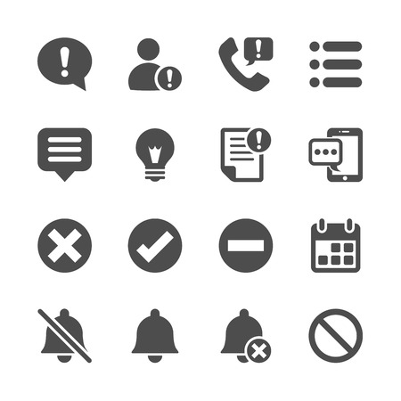 notification and information icon set, vector eps10.