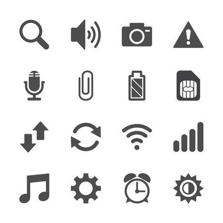 brightness: smart phone application icon set, vector eps10.