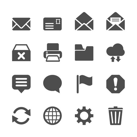 communication icon: email icon set, vector eps10.