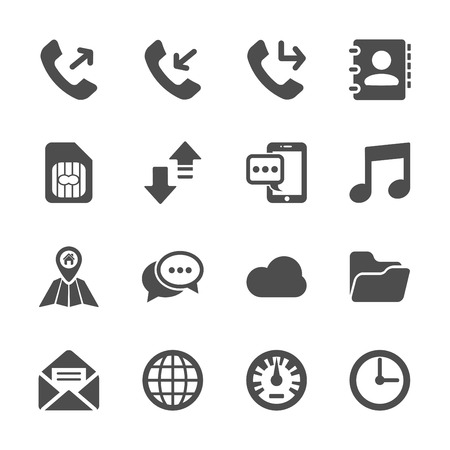 miss call: smart phone application icon set, vector eps10.