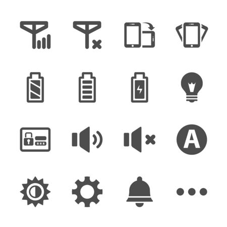 mute: smart phone application icon set, vector eps10.