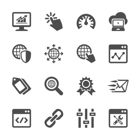 global settings: network and search engine optimization icon set, vector eps10.