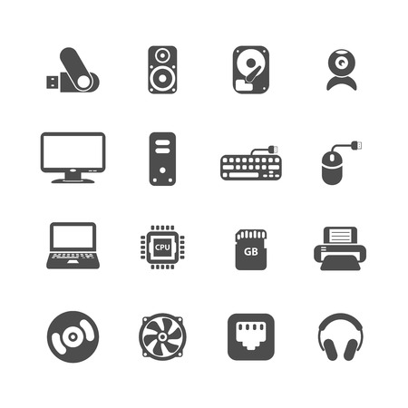 computer pc icon set, each icon is a single object (compound path), vector eps10 Vector