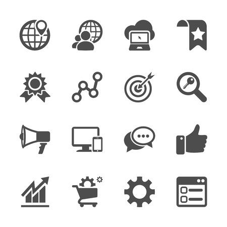 mercadotecnia: seo y marketing en Internet icono conjunto, vector eps10.