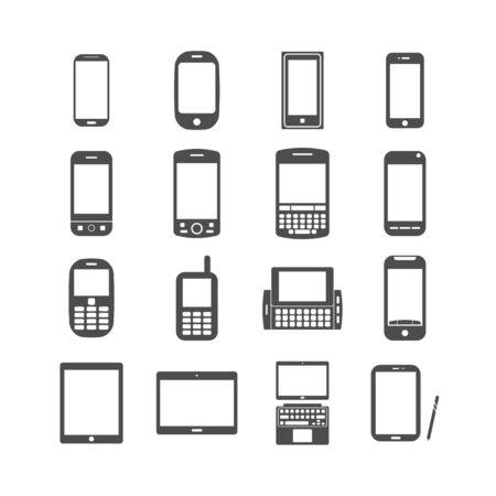 단일 개체: smart phone and tablet icon set, each icon is a single object (compound path), vector eps10 일러스트