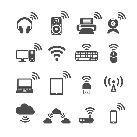 wireless technology computer icon set, each icon is a single object (compound path), vector eps10