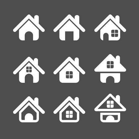 단일 개체: house icon set, each icon is a single object (compound path), vector eps10 일러스트