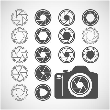 단일 개체: camera shutter icon set, each icon is a single object (compound path), vector eps10 일러스트