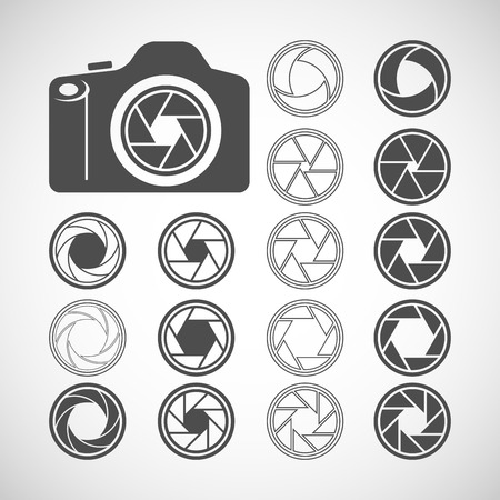 len: camera shutter icon set, each icon is a single object (compound path), vector eps10 Illustration