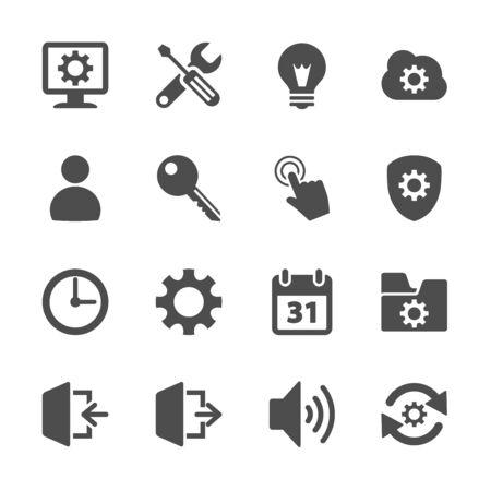 setting menu icon set Vector