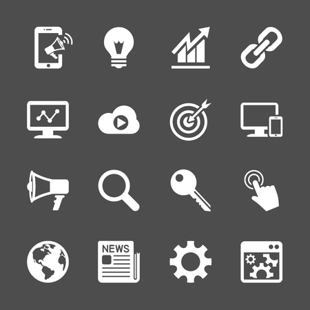 press release: seo and internet marketing icon set