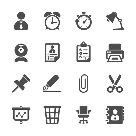 business and office work icon set Vector
