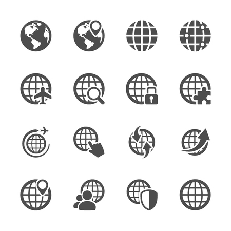 magnyfying glass: global communication icon set