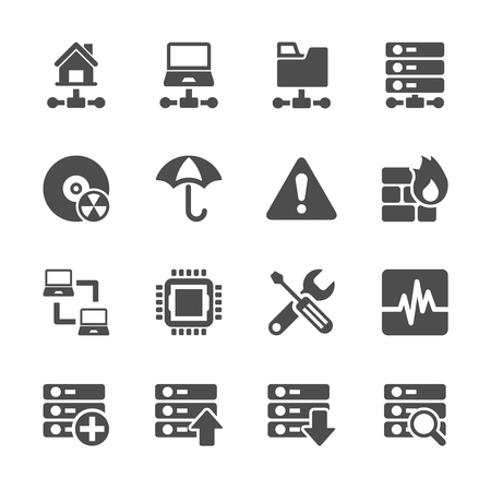 mainframe computer: network and server icon set