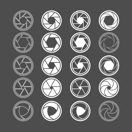 camera icon: camera shutter icon set