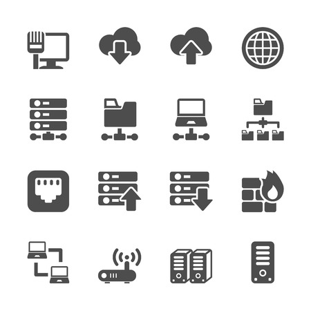 network and server icon set, vector eps10. Illustration