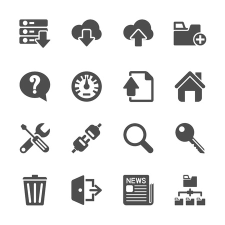 communication tools: hosting and FTP icon set, vector eps10.