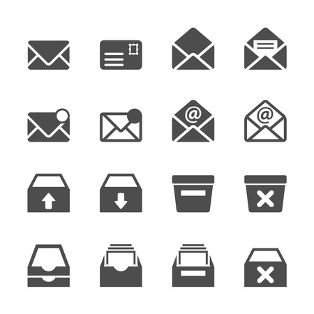 sent: email and mailbox icon set, vector eps10. Illustration