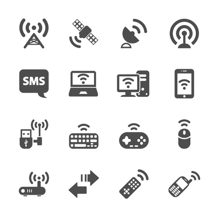 cellular repeater: wireless technology communication icon set